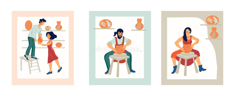 La gente lavora in un'officina ceramica ed in un'illustrazione piana delle terrecotte dell'argilla di vendita illustrazione di stock