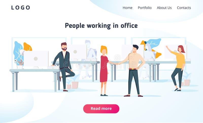 La gente lavora in un ufficio ed interagisce con i dispositivi Affare, gestione di flusso di lavoro e situazioni dell'ufficio Pag illustrazione vettoriale