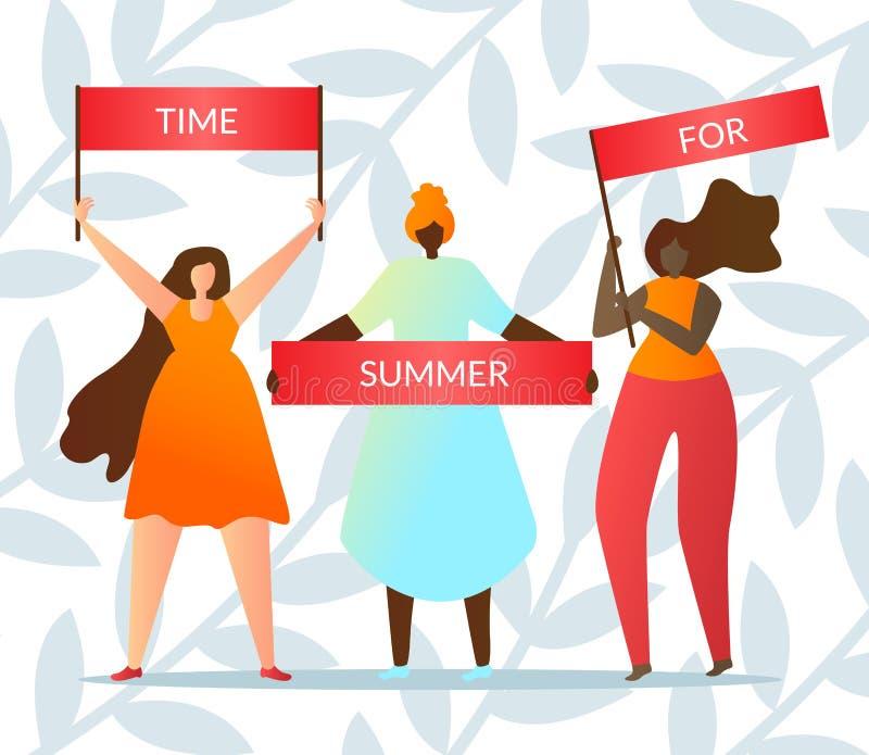 La gente lleva a cabo el tiempo del lema para el plano del vector del verano stock de ilustración