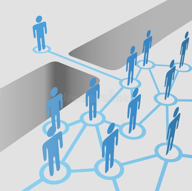La gente lo spacco del ponticello che connette fa parte della squadra di fusione della rete illustrazione di stock