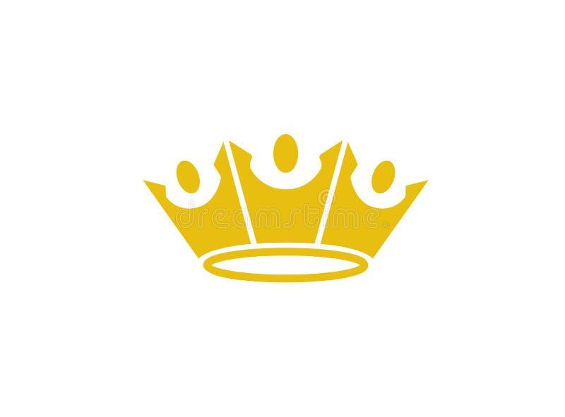 La gente Logo Design Illustration di re Crown Three Happy illustrazione di stock