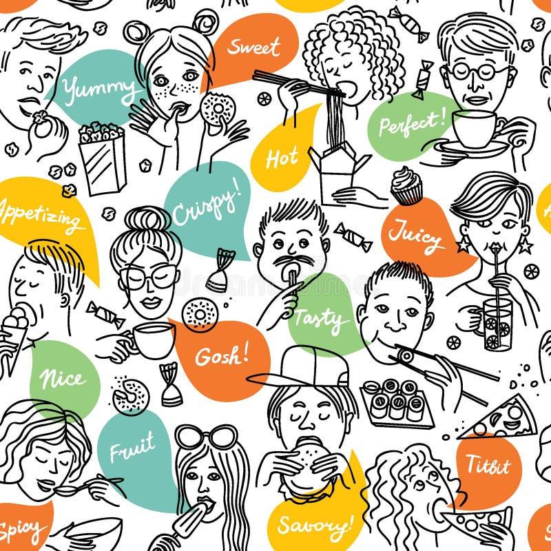 La gente mangia illustrazione di stock