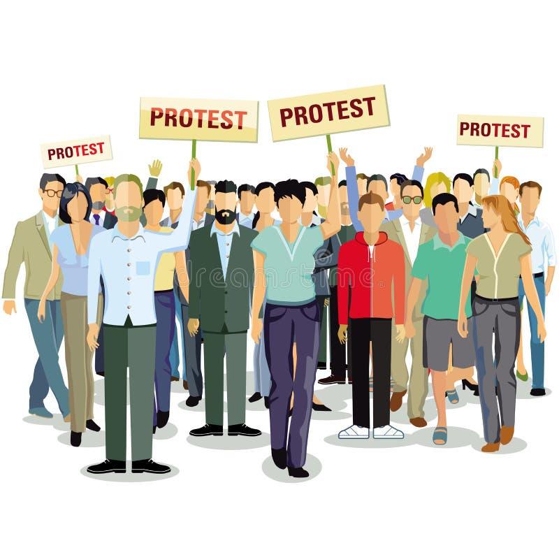 La gente in marcia di protesta illustrazione di stock
