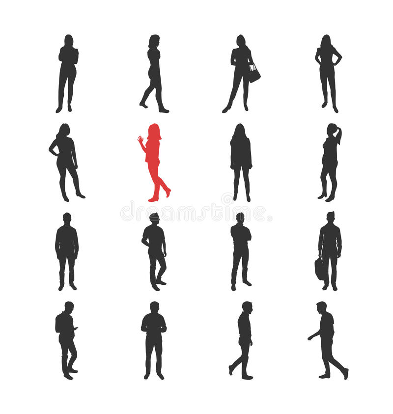 La gente, maschio, silhouelles femminili nel terreno comunale casuale differente posa illustrazione di stock