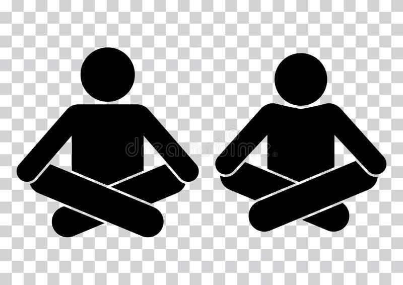 La gente meditazione Icona di yoga Siluette nere Illustrazione di vettore illustrazione vettoriale