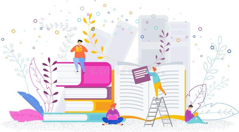 La gente minúscula en la biblioteca leyó los libros libre illustration