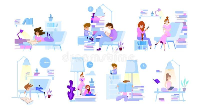 La gente min?scula ley? los libros - escenas con los caracteres para los ejemplos ilustración del vector