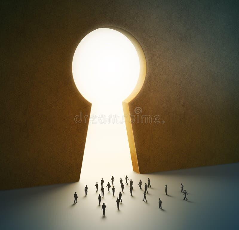 La gente minúscula que recorría en una puerta formó como un keyh ilustración del vector