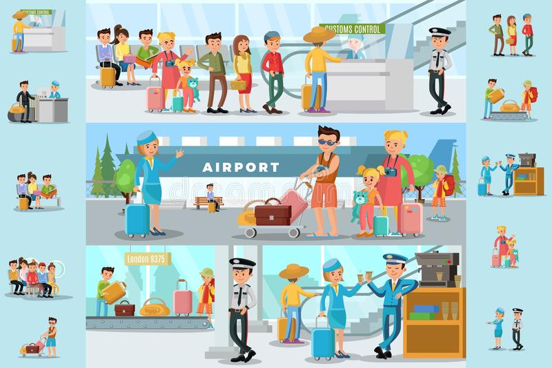 La gente in modello di Infographic dell'aeroporto illustrazione vettoriale