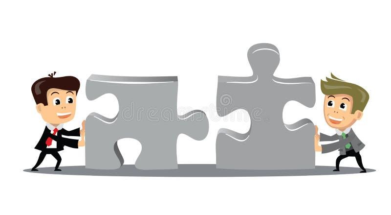 La gente muove i pezzi di puzzle illustrazione di stock