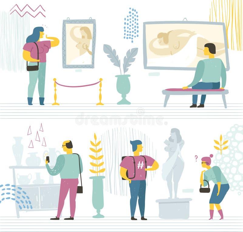 La gente nel museo moderno esamina le pitture, le sculture e le varie mostre Illustrazione di vettore