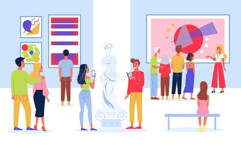 La gente nel museo Mostra moderna del materiale illustrativo ospite illustrazione vettoriale