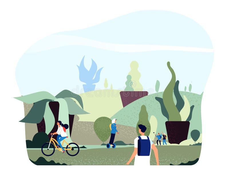 La gente nel parco della citt? Le persone giganti verdi libere delle piante camminano la bici di giro nello stile di vita sano de royalty illustrazione gratis