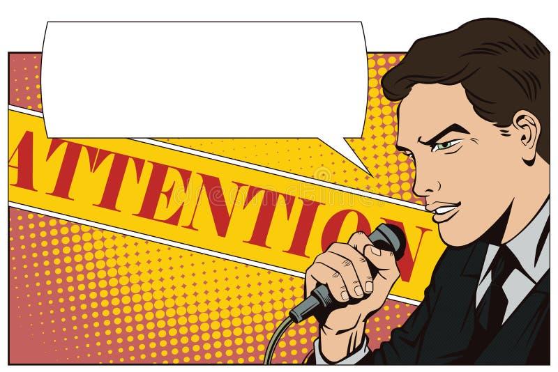 La gente nel retro Pop art di stile e pubblicità dell'annata Un uomo con un microfono royalty illustrazione gratis