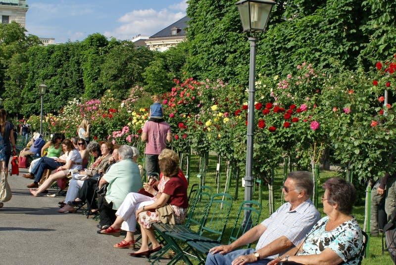 La gente nel Volksgarten a Vienna fotografia stock libera da diritti
