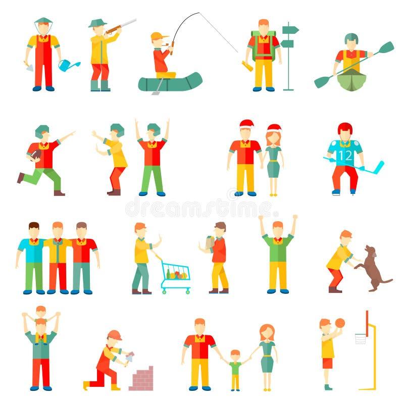 La gente nell'amichevole relazione di situazioni degli amici della famiglia di hobby differente delle coppie mette in mostra la s royalty illustrazione gratis