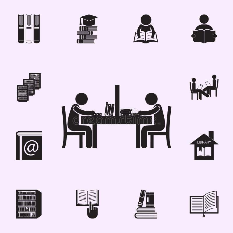 la gente nell'icona della sala di lettura r illustrazione vettoriale