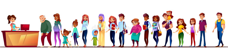 La gente nell'illustrazione di vettore della coda del supermercato royalty illustrazione gratis