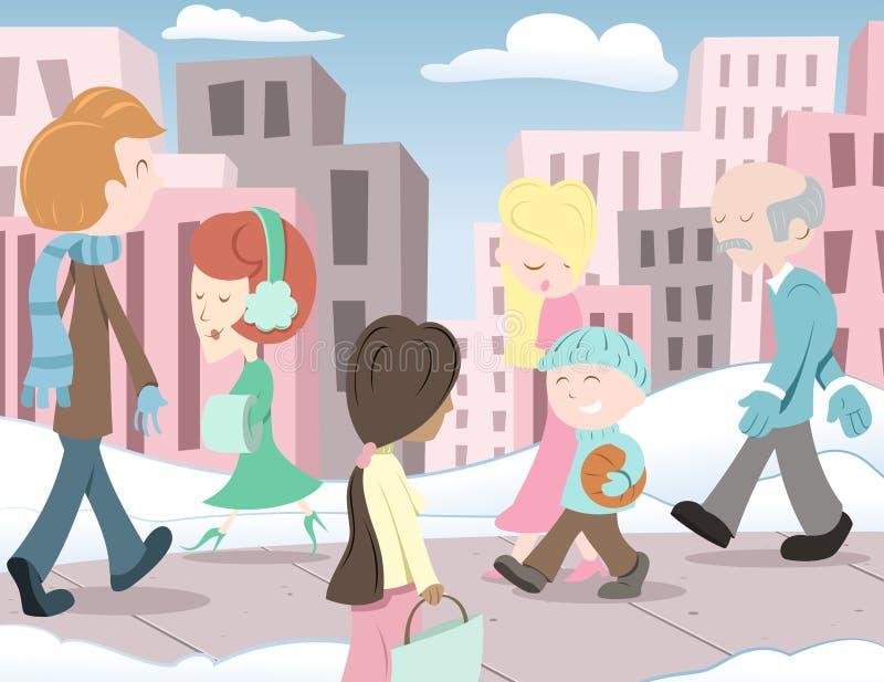 La gente nella città illustrazione vettoriale