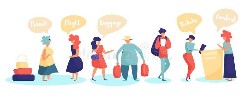 La gente nella coda all'aeroporto Vettore dello scrittorio di registrazione del passeggero fumetto Arte isolata su fondo bianco p royalty illustrazione gratis