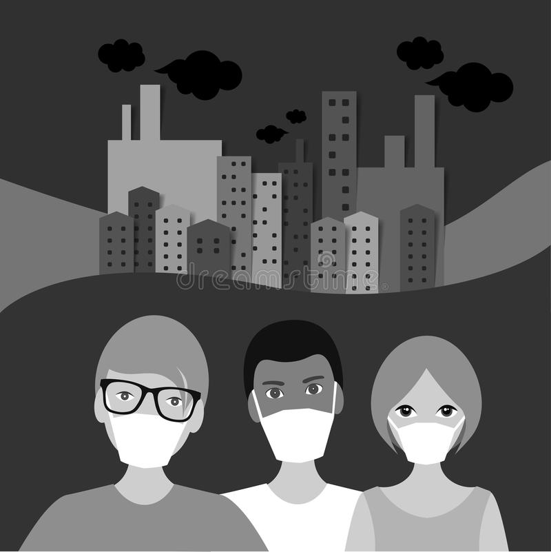 La gente nella maschera nella città di inquinamento, panorama della città Rebecca 36 illustrazione di stock