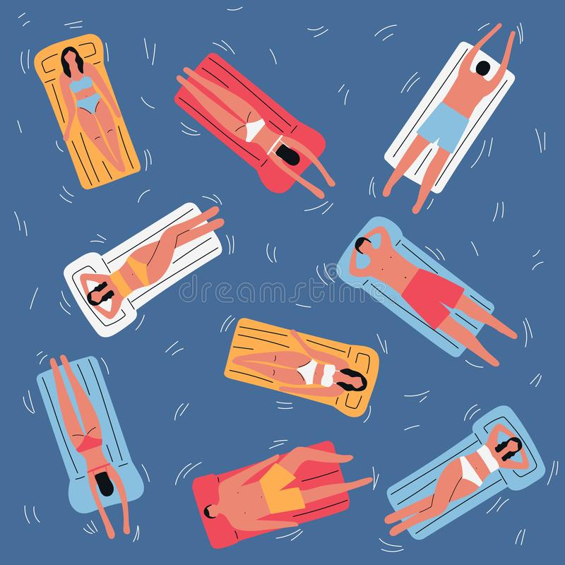 La gente nella piscina con la vista superiore dei materassi gonfiabili Illustrazione piana di vettore illustrazione di stock