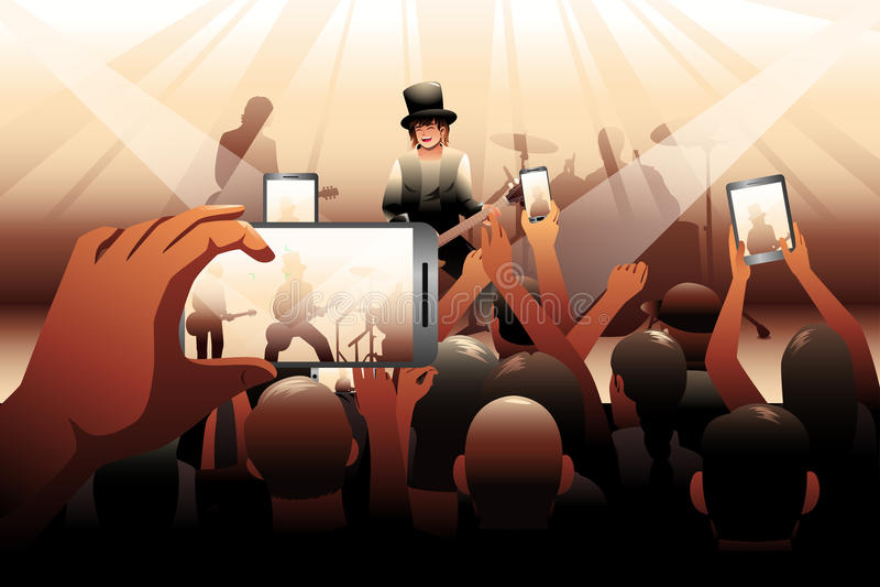 La gente nella scena di concerto royalty illustrazione gratis