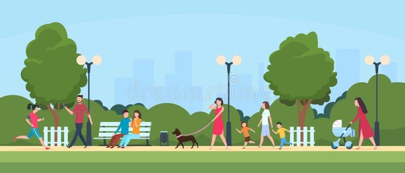 La gente in parco Attivit? di svago e di sport delle persone all'aperto Famiglia del fumetto e caratteri dei bambini nel vettore  royalty illustrazione gratis