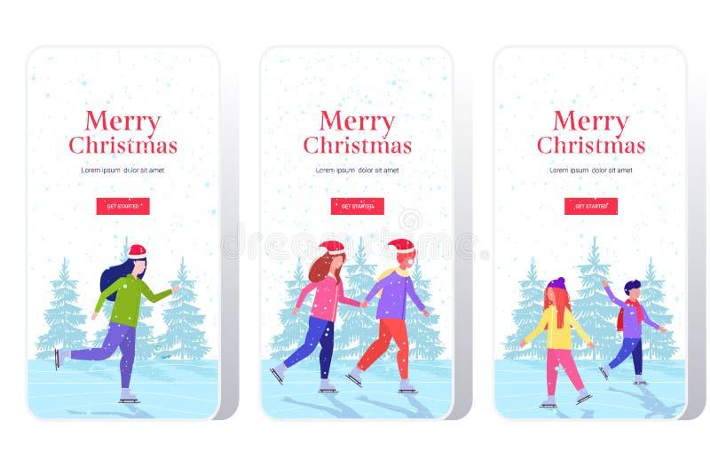 La gente patinando en pista de hielo actividad deportiva recreación en vacaciones concepto de pantalla de smartphone puesta en lí libre illustration