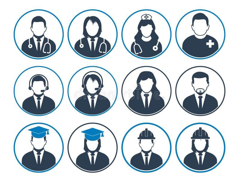 La gente perfila el sistema del icono de diversa profesión stock de ilustración