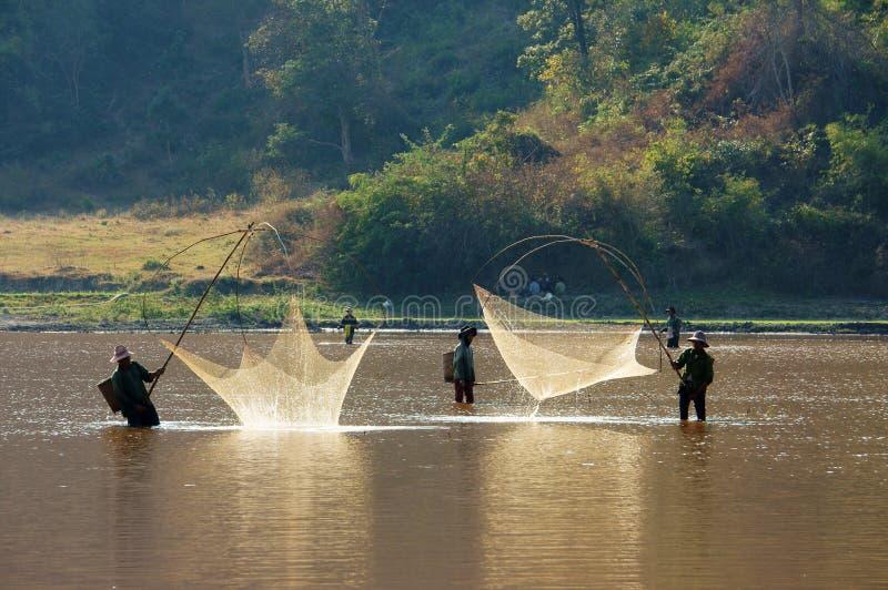 La gente pesca il pesce dalla rete dell'ascensore sulla fossa immagine stock libera da diritti