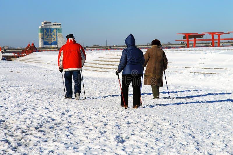 La gente più anziana gioca gli sport nell'inverno, camminata nordica, con i pali di sci immagine stock libera da diritti
