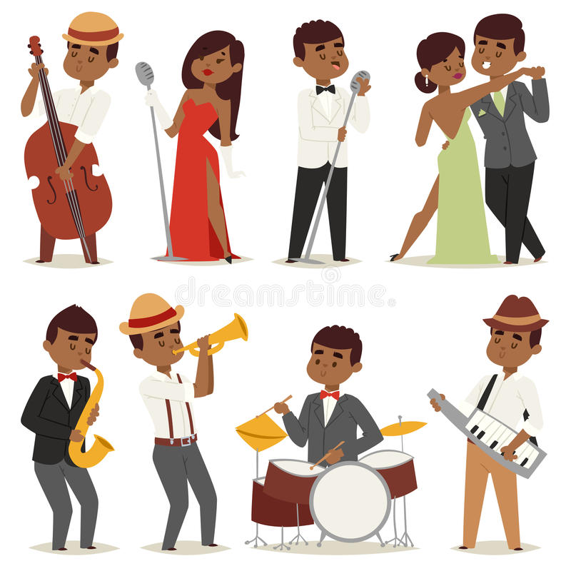 La gente piana del musicista del fumetto del gruppo della banda di musica di jazz che gioca sui blu degli strumenti vector l'illu illustrazione vettoriale