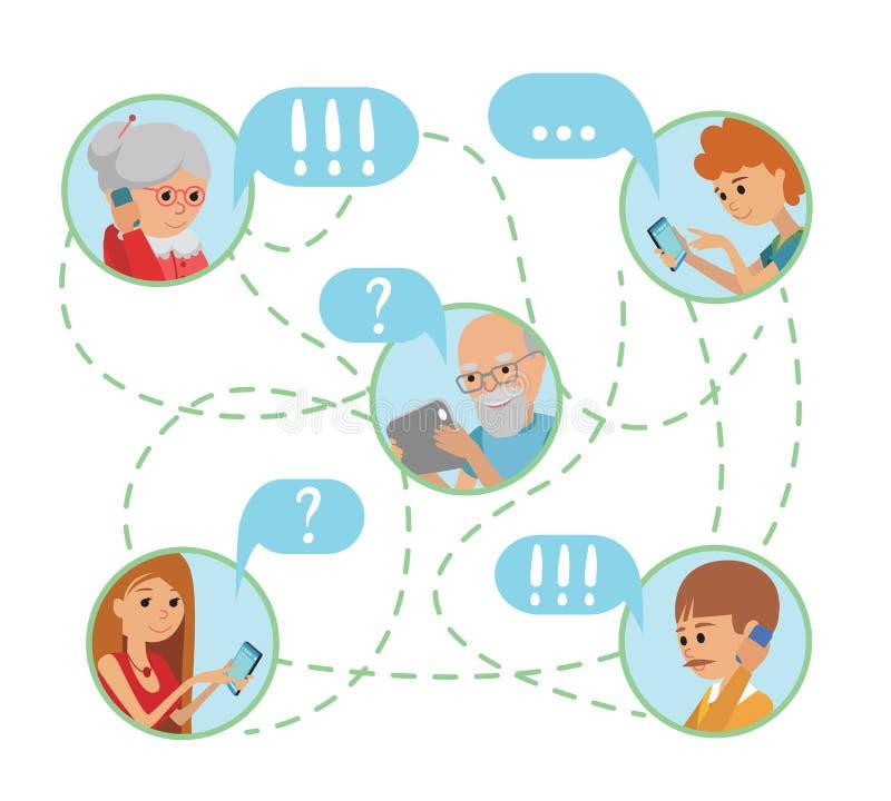 La gente piana di stile dell'illustrazione della famiglia affronta le comunicazioni sociali online di media illustrazione vettoriale