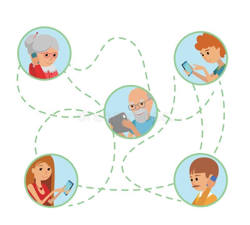 La gente piana di stile dell'illustrazione di vettore della famiglia affronta le comunicazioni sociali online di media royalty illustrazione gratis