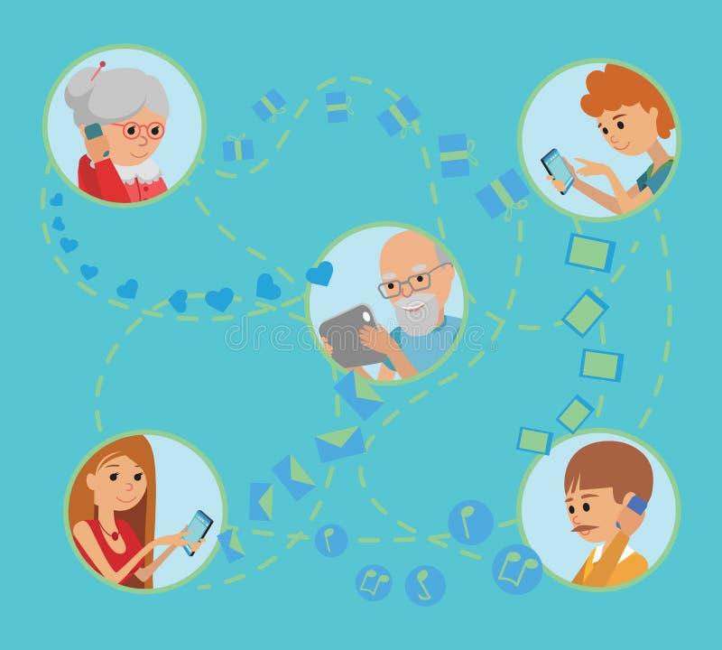 La gente piana di stile della famiglia affronta le comunicazioni sociali online di media royalty illustrazione gratis