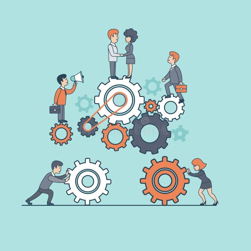La gente piana lineare del lavoro di gruppo di affari aumenta la ruota dentata royalty illustrazione gratis