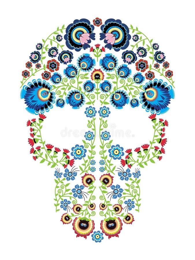 La gente polaca colorida inspiró por arte mexicano tradicional del cráneo del azúcar con los elementos del estampado de flores libre illustration