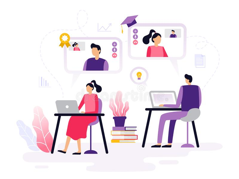 La gente prende i corsi online, il lavoro con i computer portatili ed i video di sorveglianza royalty illustrazione gratis