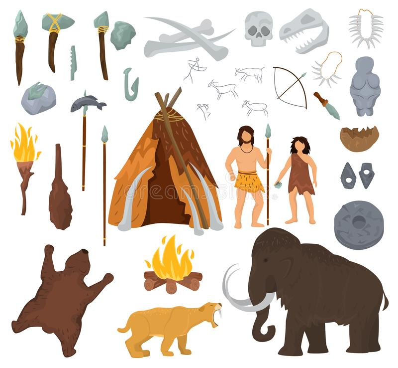 La gente primitiva vector il carattere mastodontico ed antico del cavernicolo nell'uomo preistorico dell'illustrazione della cave illustrazione di stock