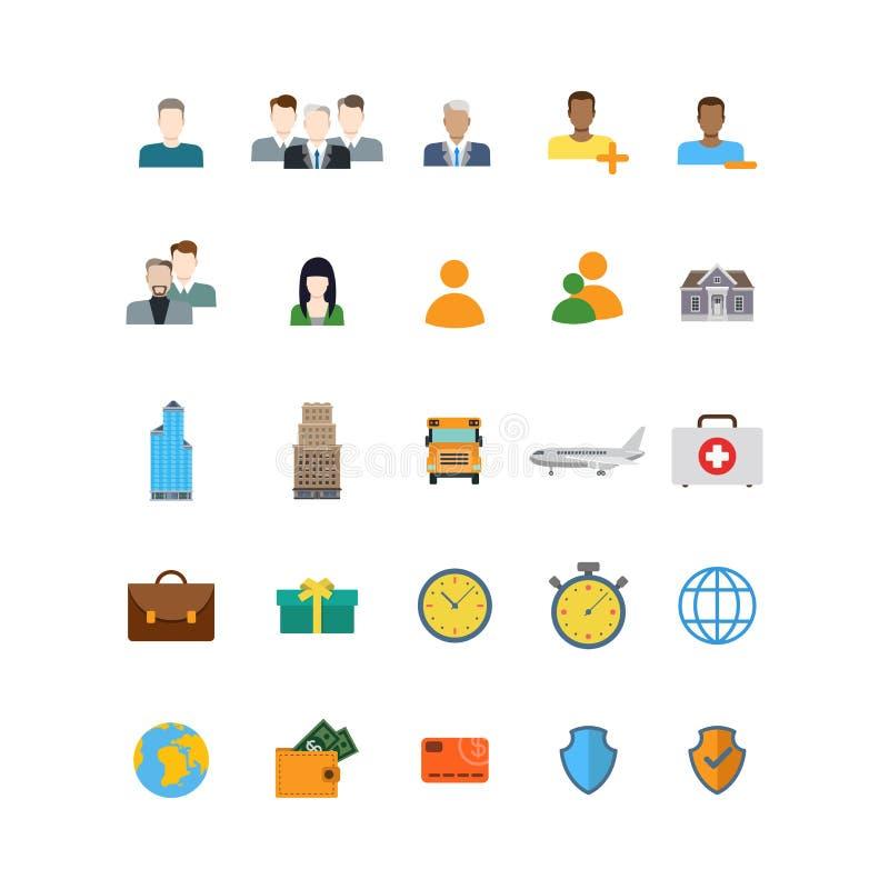 La gente profila le icone mediche di app del sito Web di vettore della protezione della carta illustrazione vettoriale