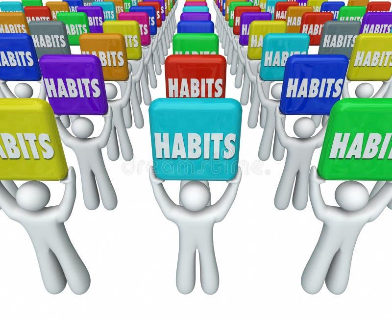 La gente que lleva a cabo rutinas acertadas de las palabras de los hábitos alcanza metas ilustración del vector