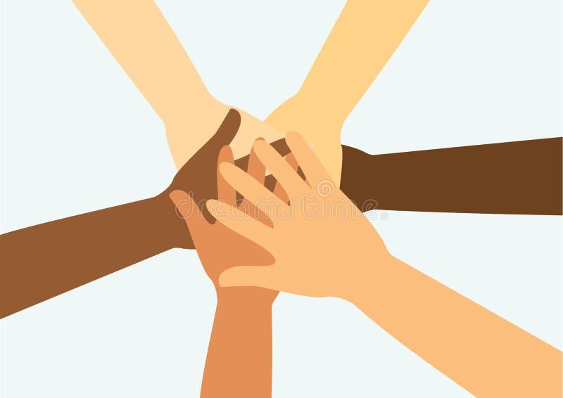 La gente que pone sus manos junta vector libre illustration