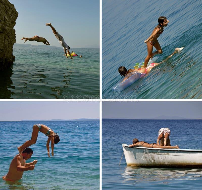 La gente que salta en el mar (el collage) foto de archivo