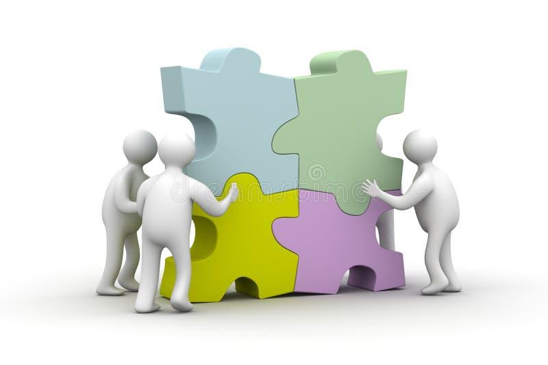 La gente raccoglie il puzzle. Illustrazioni isolate illustrazione di stock