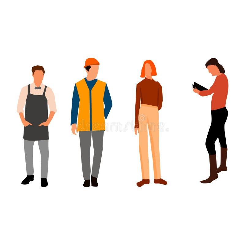 La gente raggruppa con l'occupazione differente fissata Vettore illustrazione di stock