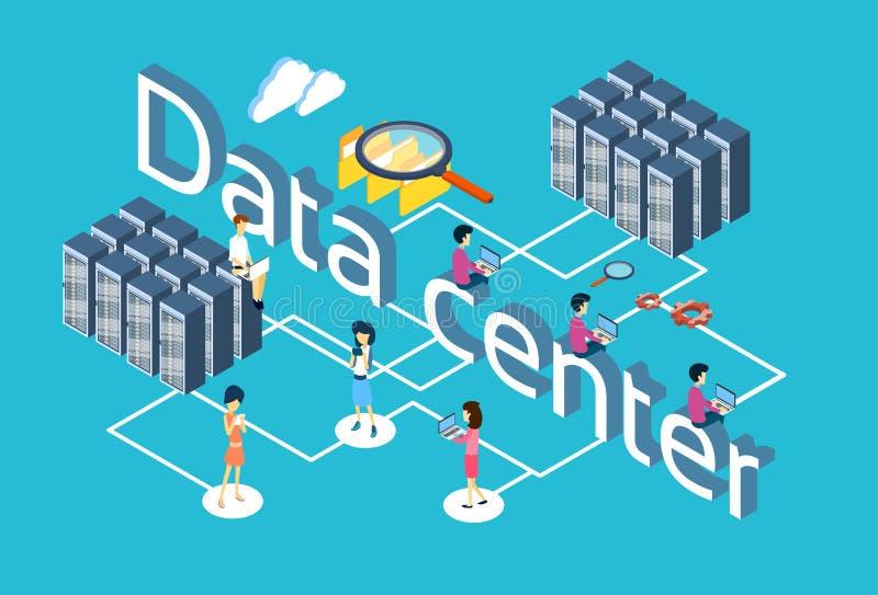 La gente raggruppa facendo uso di progettazione isometrica del centro dati 3d di ricerca del database server degli aggeggi royalty illustrazione gratis
