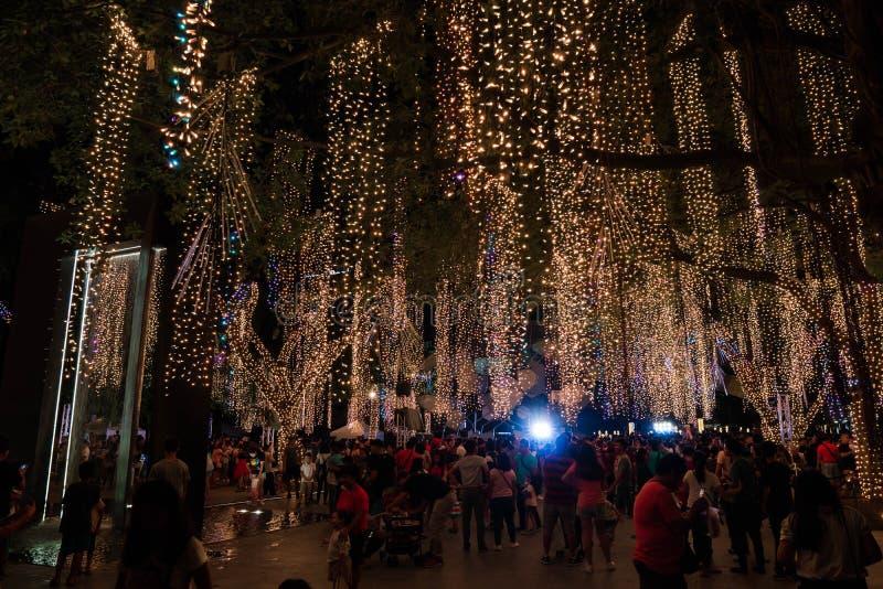 La gente recolecta en los jardines del triángulo de Ayala para mirar la demostración corta de la luz de la Navidad imágenes de archivo libres de regalías