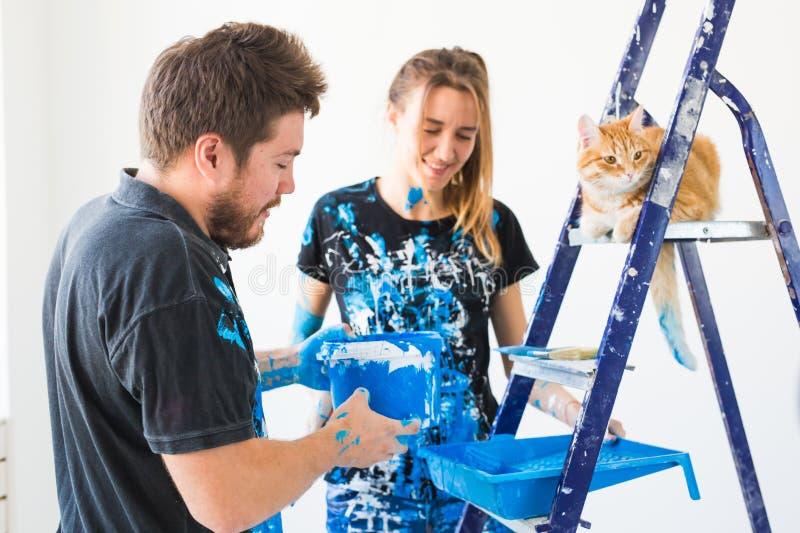 La gente, rinnovamento, animale domestico e concetto di riparazione - ritratto delle coppie divertenti adorabili con il gatto che fotografie stock