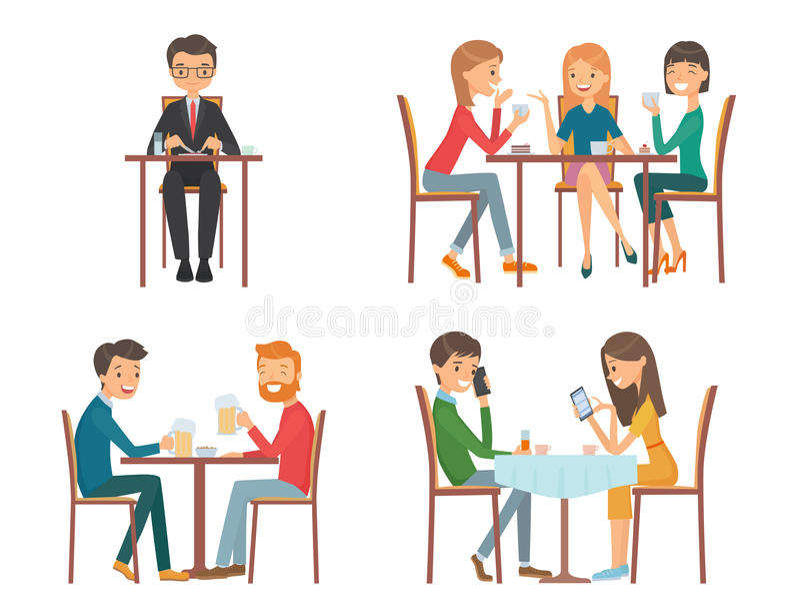 La gente in ristorante illustrazione vettoriale